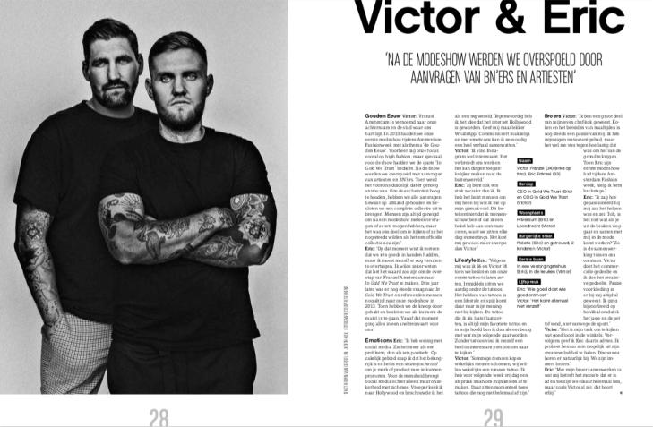Victor Franzel en Eric Franzel van In Gold We Trust met een interview in JFK Magazine
